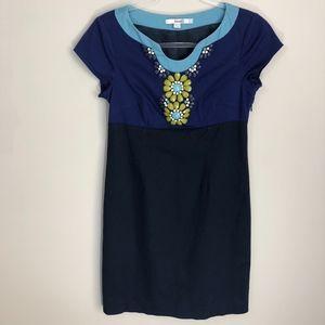 Boden Beaded Blue Colorblock Sheath Dress 6P